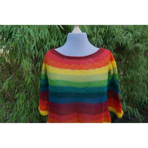 Wollpullover oder kurzes Kleid in Regenbogen Farben, handgestrickt, für Damen, Strickpullover, lang,