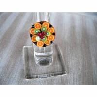Ring Obstboden mit Orangenscheiben und Heidelbeeren aus Fimo Polymer Clay handmodelliert Fingerring Bild 1