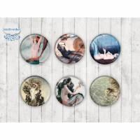 063 - Motivcabochon Set, Glascabochons Handmade Fotocabochon Meerjungfrau Nixe Elfe Wassernixe maritim Bild 1