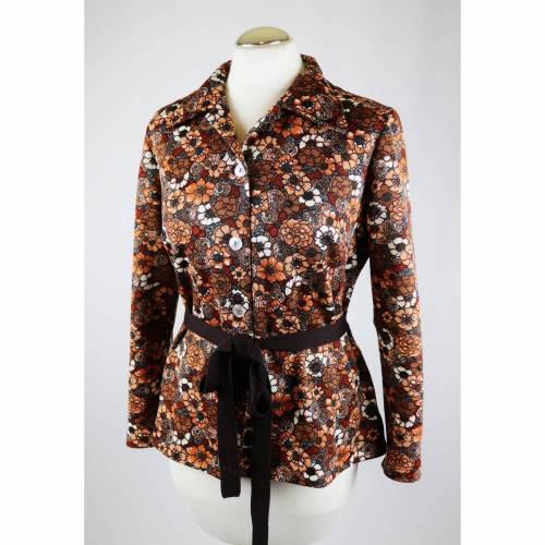 True Vintage 60er 70er Hippie Bluse Kurzbluse Größe 40 42 Braun Orange Blüten Blumen Billie 60er 70er Flower Pikee Piquee Gürtel