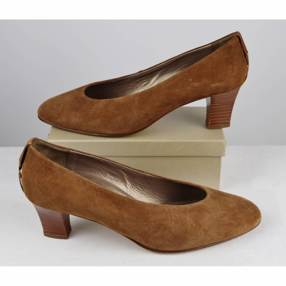 Vintage 80er Klassisch Leder Pumps Dorndorf Gina Größe 6,5 40 Hellbraun Braun Goldfarben Trotteur Schuhe Elegant Velours Bild 1
