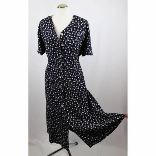 Vintage 80er  Maxikleid Kleid Größe M 38 40 Dunkelblau Weiß Blümchen Millefleur Knopfleiste Perlmutt 40er Look Viskose