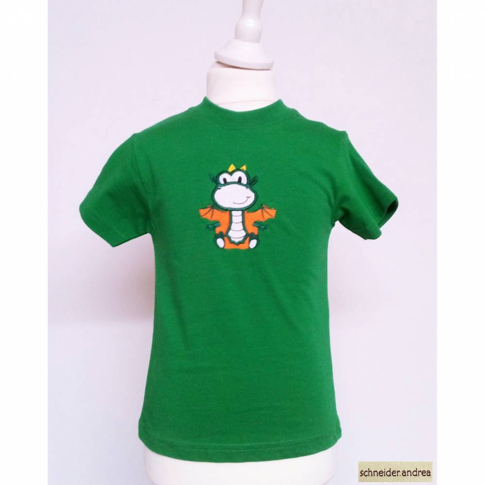 Besticktes Kinder - T-Shirt DINO, grün, Größe 98 Bild 1
