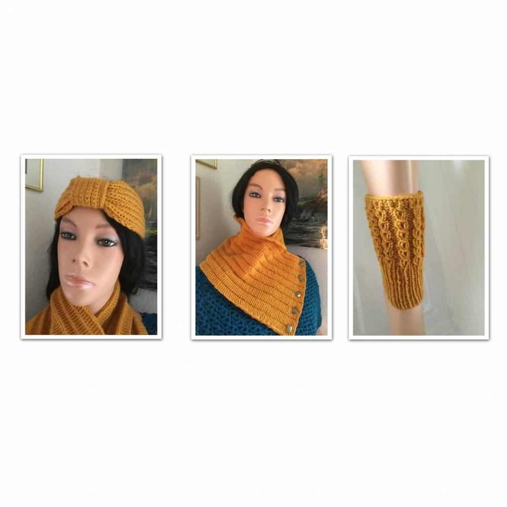 Handgestrickter Schal, Stirnband und Stiefel/Bein Stulpen als Set, Senfgelb Bild 1