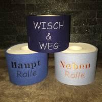 Klorollenumrandung Wollfilz bestickt WUNSCHTEXT Klopapiermanschette Toilettenpapiermanschette Klorollendeko Bild 1