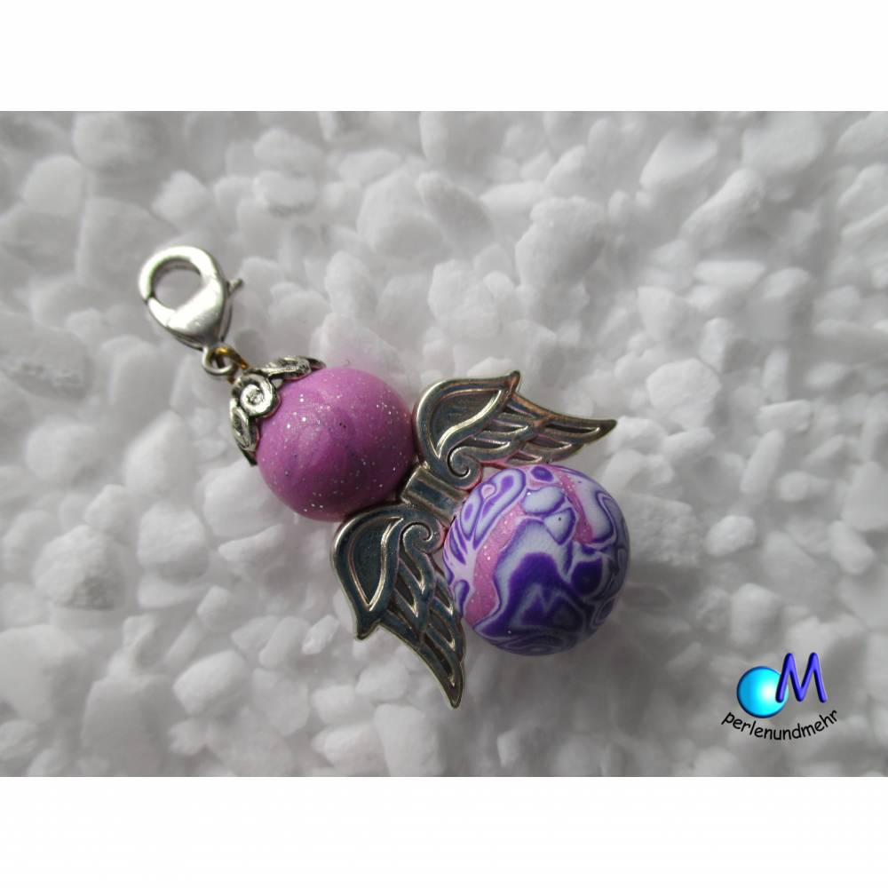 Schutzengel handmade Perlen ART 3457 rosa-glitzer lila Bild 1