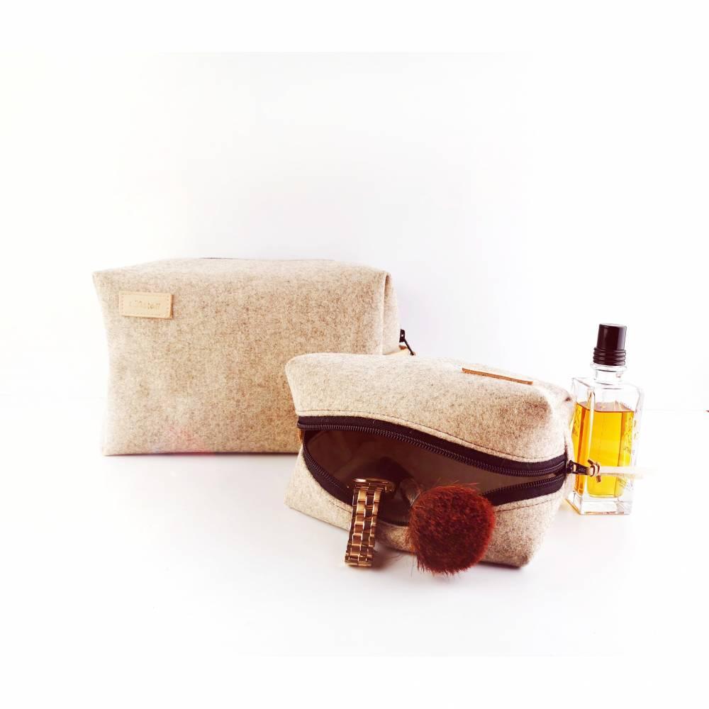Kulturtaschen Set aus Filz mit Lederdetails Bild 1