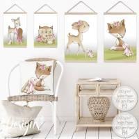 A4 - Babyzimmer Kinderzimmer Bilder Waldtiere Tiere Reh Fuchs Eule Mädchen Kinderbild  Bild 1