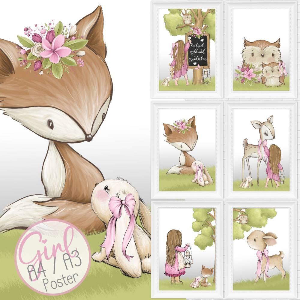 A4 - Babyzimmer Kinderzimmer Bilder Waldtiere Tiere
