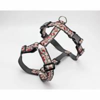 Hundegeschirr im Asia Design mit Blumen, Gurtband in dunkelgrau, Brustgeschirr für Hunde Bild 1