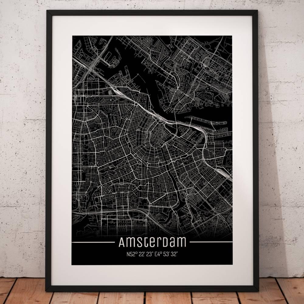 Stadtplan AMSTERDAM - Just a Black Map I Digitaldruck Stadtkarte citymap City Poster Kunstdruck Stadt Karte Bild 1