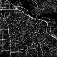Stadtplan AMSTERDAM - Just a Black Map I Digitaldruck Stadtkarte citymap City Poster Kunstdruck Stadt Karte Bild 2