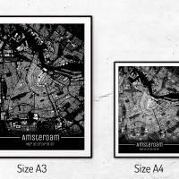 Stadtplan AMSTERDAM - Just a Black Map I Digitaldruck Stadtkarte citymap City Poster Kunstdruck Stadt Karte Bild 5