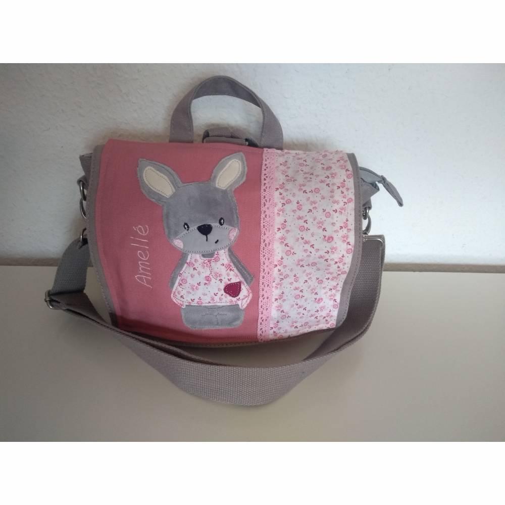Kindergartentasche Kindergartenrucksack Hase rosa personalisiert mit Name Bild 1