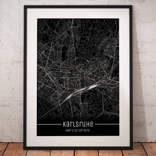 Stadtplan KARLSRUHE - Just a Black Map I Digitaldruck Stadtkarte citymap City Poster Kunstdruck Stadt Karte