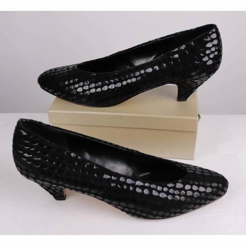 Vintage 80er Jahre Disco Spitze Pumps Schuhe Boccia Größe 41 Schwarz Glanz Glitzer Punkte Leder Kroko V-Neck Ausschnitt