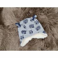 Garnelchen Baby Mütze Eulen Igel Teddyplüsch KU 43-45cm - gefüttert Bild 1