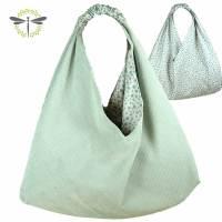 Origami-Tasche XXL Shopper Beutel japanische Einkaufstasche Bento-Bag hellblau Cord-Stoff  Bild 1