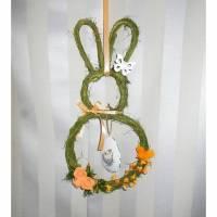 Fensterschmuck, Türkranz, Hase grün aprikot, Türschmuck, mit Ei Bild 1