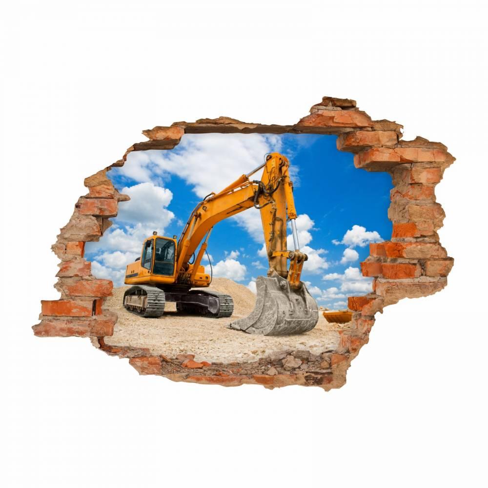 049 Wandtattoo Bagger Baustelle - Loch in der Wand - in 6 Größen - Coole Kinderzimmer Sticker  Bild 1