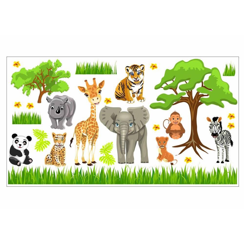 088 Wandtattoo Baby Zoo Dschungel Tiere Safari Lowe