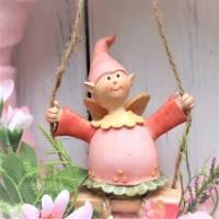 Türkranz, ganzjährig, Kranz rosa mit Wichtel, Frühlingskranz Bild 2