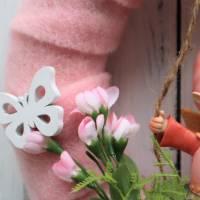 Türkranz, ganzjährig, Kranz rosa mit Wichtel, Frühlingskranz Bild 4