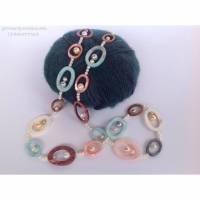 Perlenkette extra lang: 87 cm, mit Perlmuttringen, endlos, Geschenk für Frauen, Perlmutt Bild 1