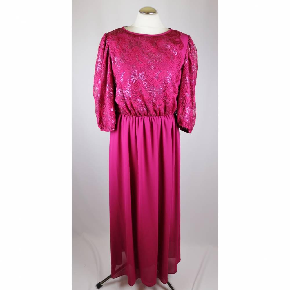 true vintage 80er abendkleid maxikleid höpfner modell größe xl 42 44  fuchsia pink spitze lurex glitzer krepp chiffon langes kleid charlston