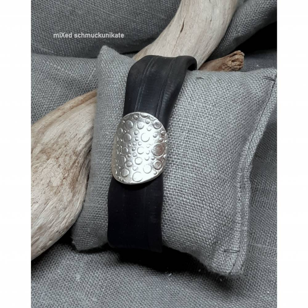 Armband Upcycling Fahrradschlauch und Silber Bubbles Bild 1