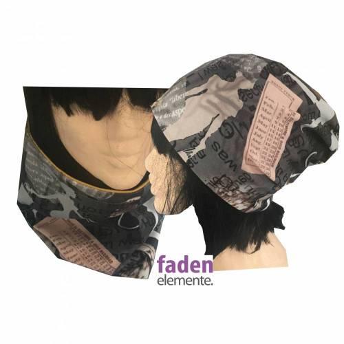 Maske, Mund- und Nasenmaske, 2in1 Schal, Kragen und Mütze braun gelb