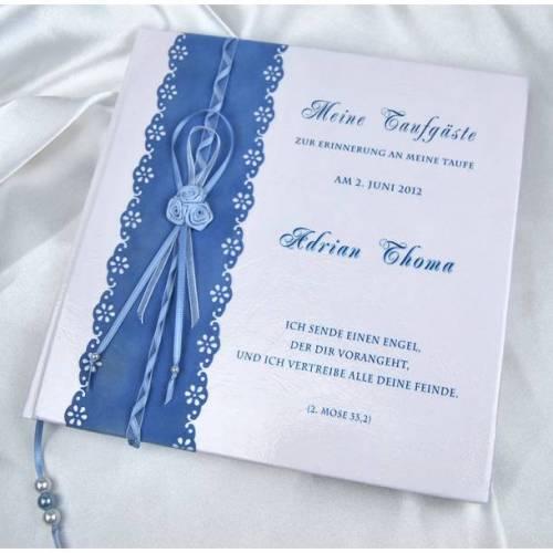 Taufbuch Junge Gästebuch Taufe Samt Rosen blau royalblau Edel Satinband Taufgeschenk personalisiert Name Erinnerung Album Baby