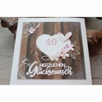 Hochzeitskarte, Glückwunschkarte zum Hochzeitstag, Jubiläum, Rustikale Hochzeitskarte Bild 1