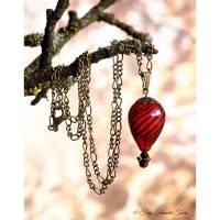 Heißluftballon Halskette - Bronze Rot Schwarz Transparent - mit Glashohlperle und geschliffenen Glasperlen / Kette / Glasschmuck / Geschenk / Schmuck / Nostalgie / Vintage Stil / Steampunk / Anhänger / Pendant Bild 1