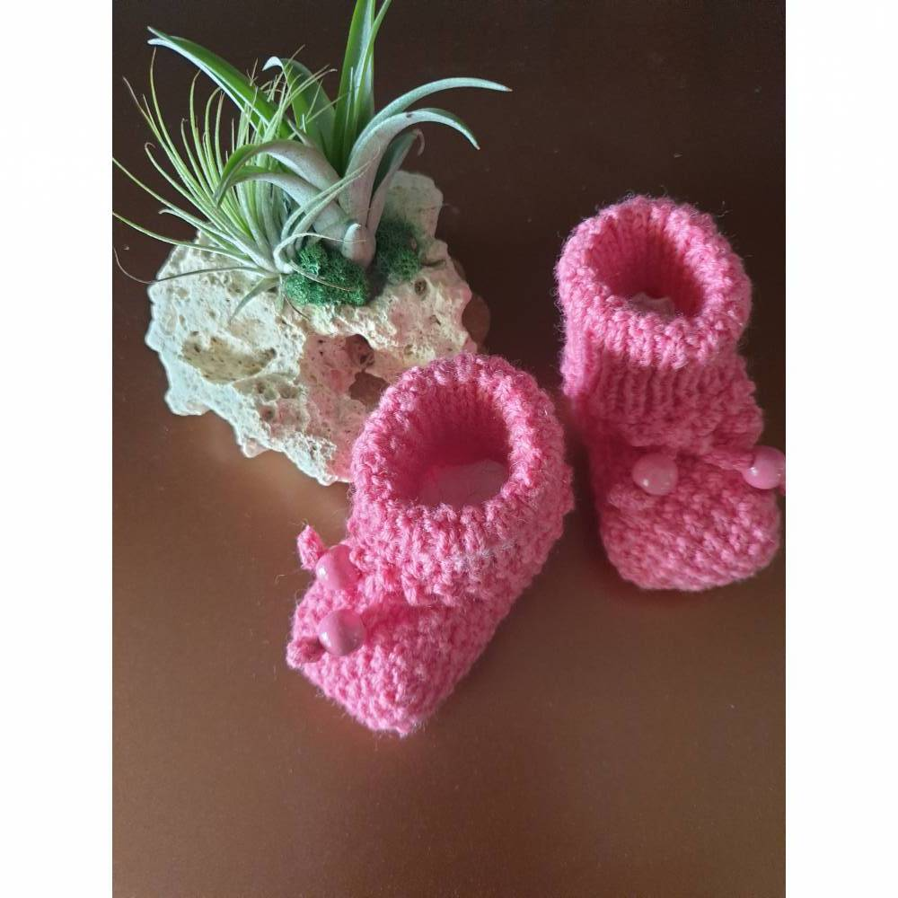 Baby-Strickschuhe pink 9 cm Bild 1