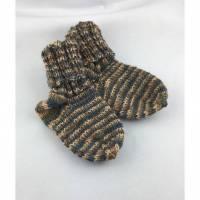 handgestrickte Babysocken in beige grau (063) Bild 1