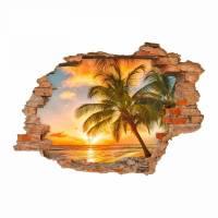 094 Wandtattoo Paradies Sonnenuntergang Strand Palmen - Loch in der Wand - in 6 Größen - Wunderschöne Kinderzimmer Sticker und Aufkleber Bild 1