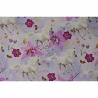 Jersey mit Schimmel Pferde mit Blumen 50x 155 cm Nähen Stoff Reiten Digitaldruck Bild 1