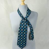 Breite Seidenkrawatte, Krawatte aus Seide, in blau-Tönen, Schlips, Seidenschlips, Vintage, getragen, von Altea Milano Bild 1