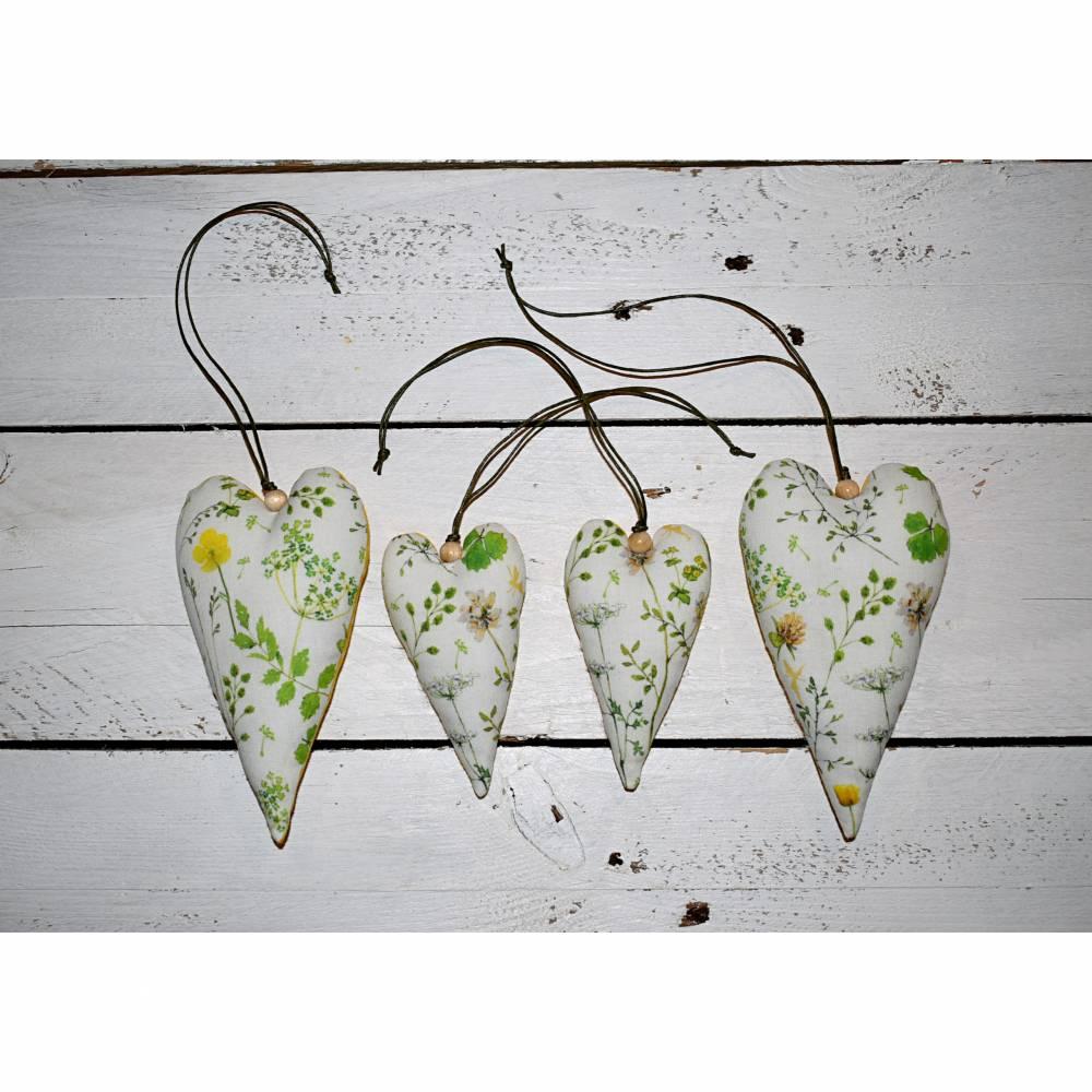 Set ( 4 Stück ) dekorative Herzen für die Frühlings- & Sommerzeit Bild 1