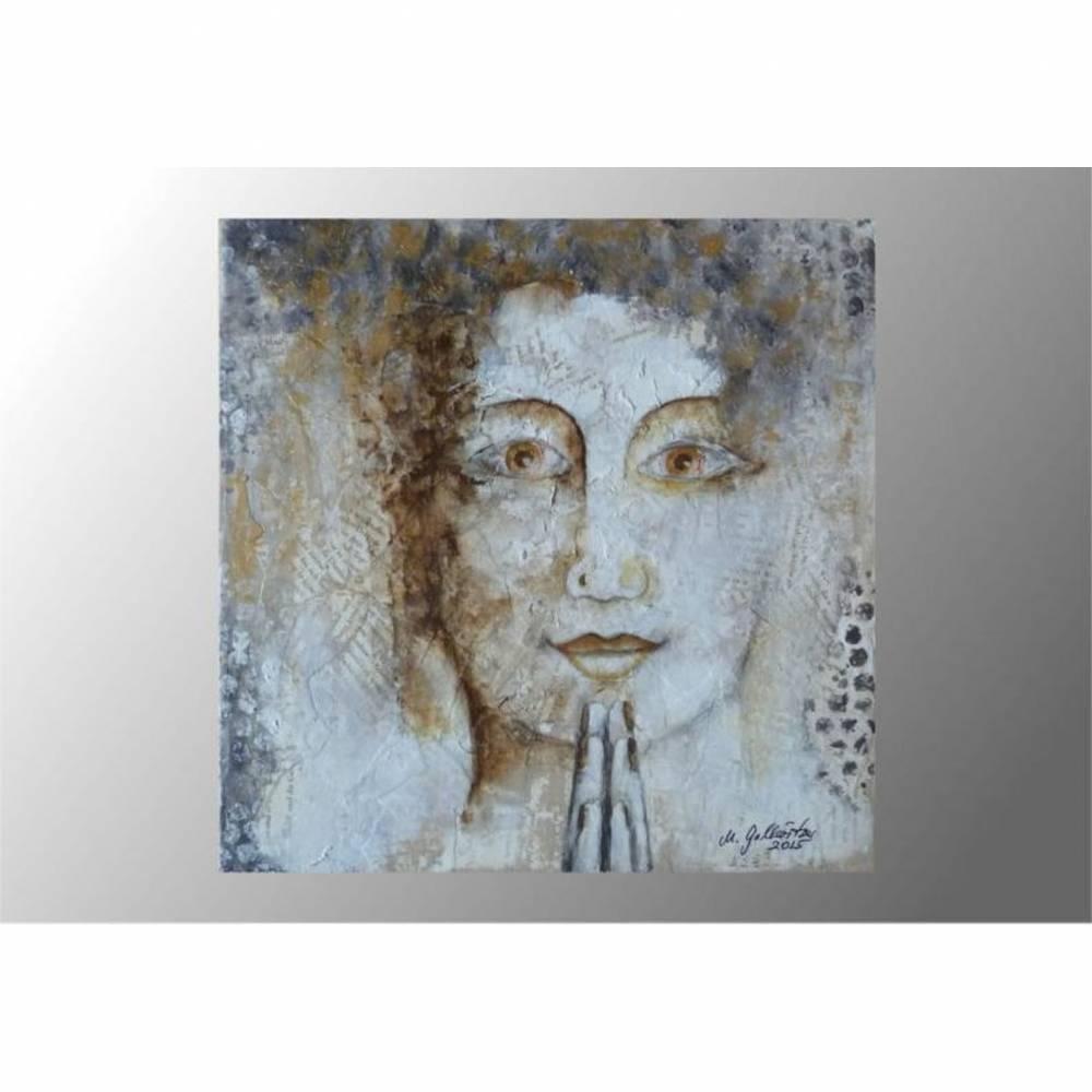 Acrylbild Portrait Frau mixed media Original Leinwandbild  Bild 1