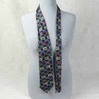 Seidenkrawatte, Krawatte aus Seide, in Dunkelrot, rot, blau, grün, gelb Schlips, Seidenschlips, Vintage, getragen, von Alpi Bild 1