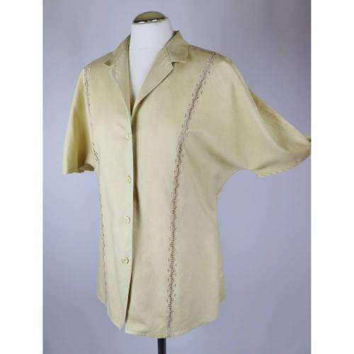Vintage 80er Kurzarm Bluse Ursula Aust Größe M 40 Beige Creme Leinen Baumwolle Durchbruchspitze Spitze Borte Retro Häkel 40er Kurzarmbluse
