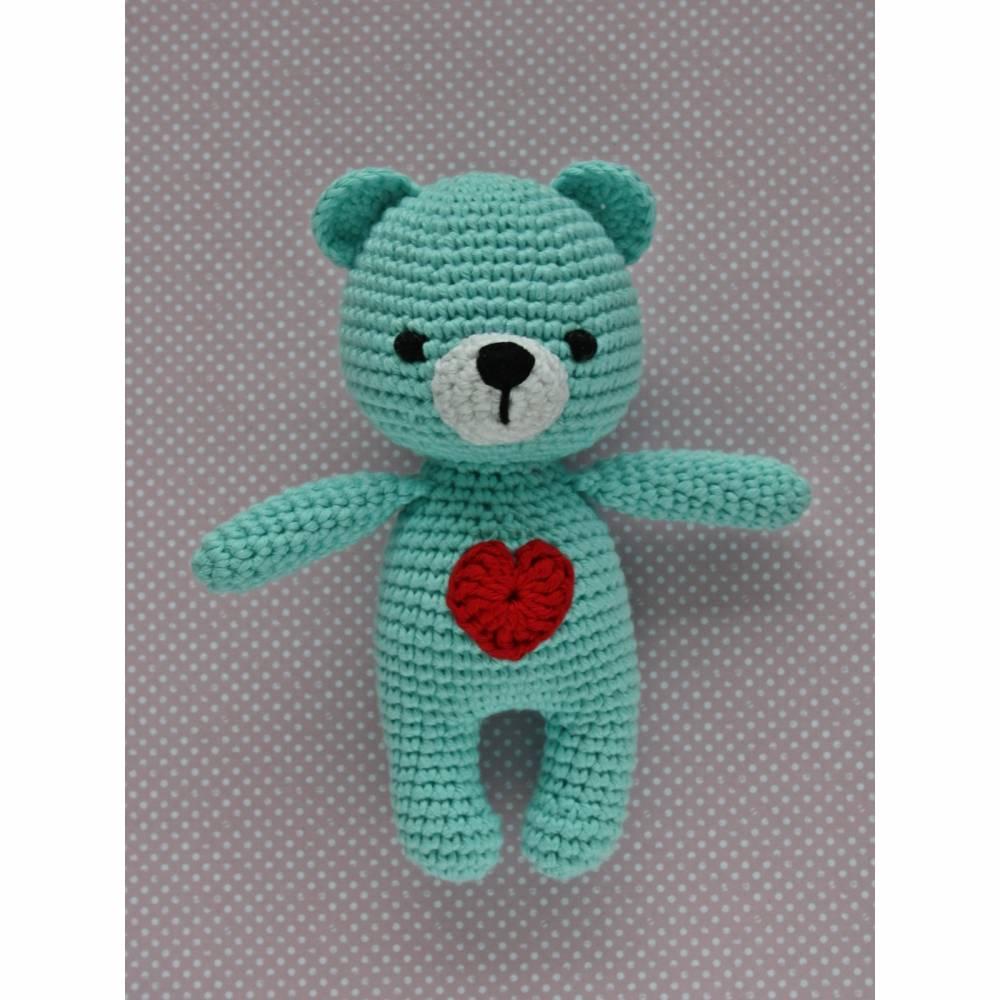 Kuscheltier Häkeltier Teddy Mini türkis aus Baumwolle Handarbeit Bild 1