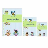 Schutzhüllen für U-Heft, Impfpass und Krankenversicherungskarte, personalisiert, Motiv Eule blau Bild 1