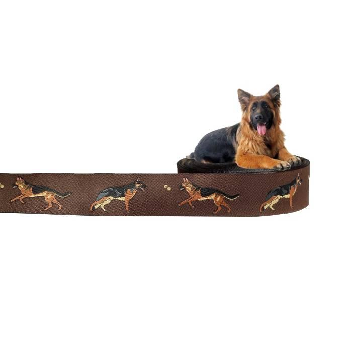 Deutscher Schäferhund Webband Hund, Borte, braun, 25mm, 1 Meter Bild 1