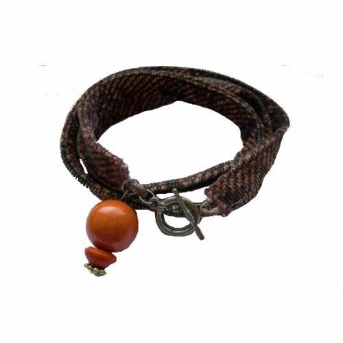 Wickelarmband braun orange Samt, Gr.  M/L