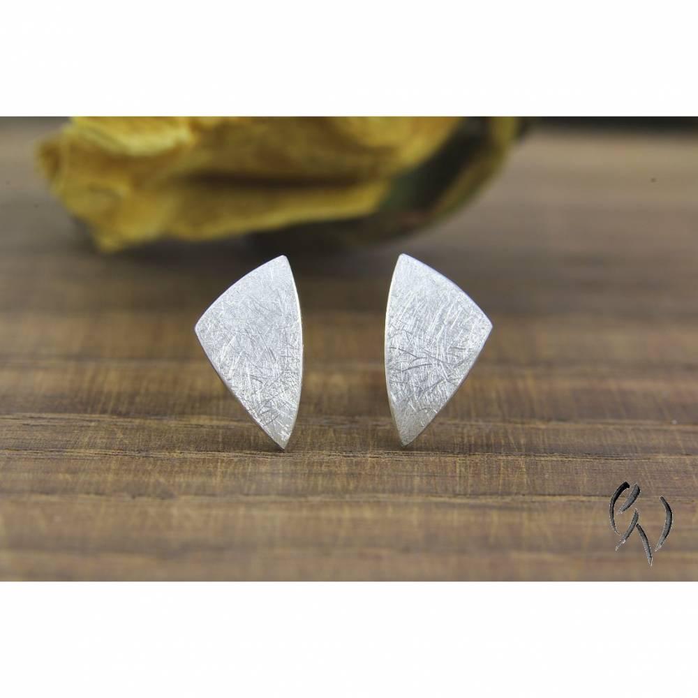 Ohrstecker Silber 925/-, ungleiches Dreieck, mattgekratzt Bild 1
