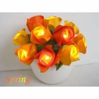 Lichterkette Rosen in gelb orange, Osterdeko, Tischdeko Ostern Bild 1