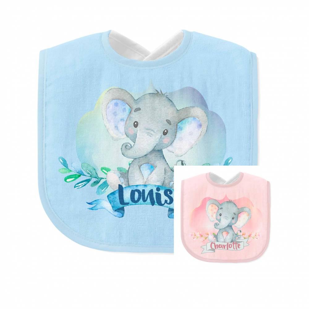 Lätzchen Elefant mit Namen für Mädchen und Jungen in rosa oder blau Bild 1